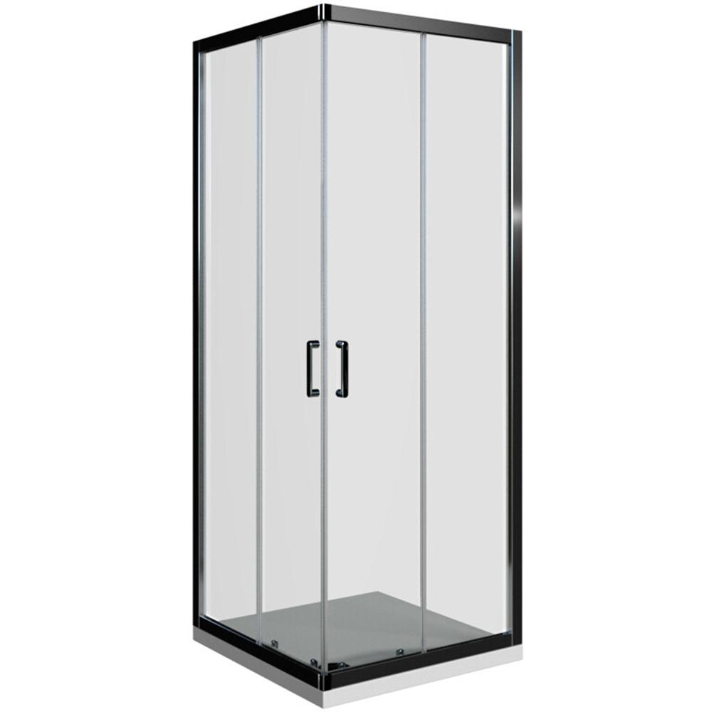 Domino kvadratna kabina krom profil prozirno staklo