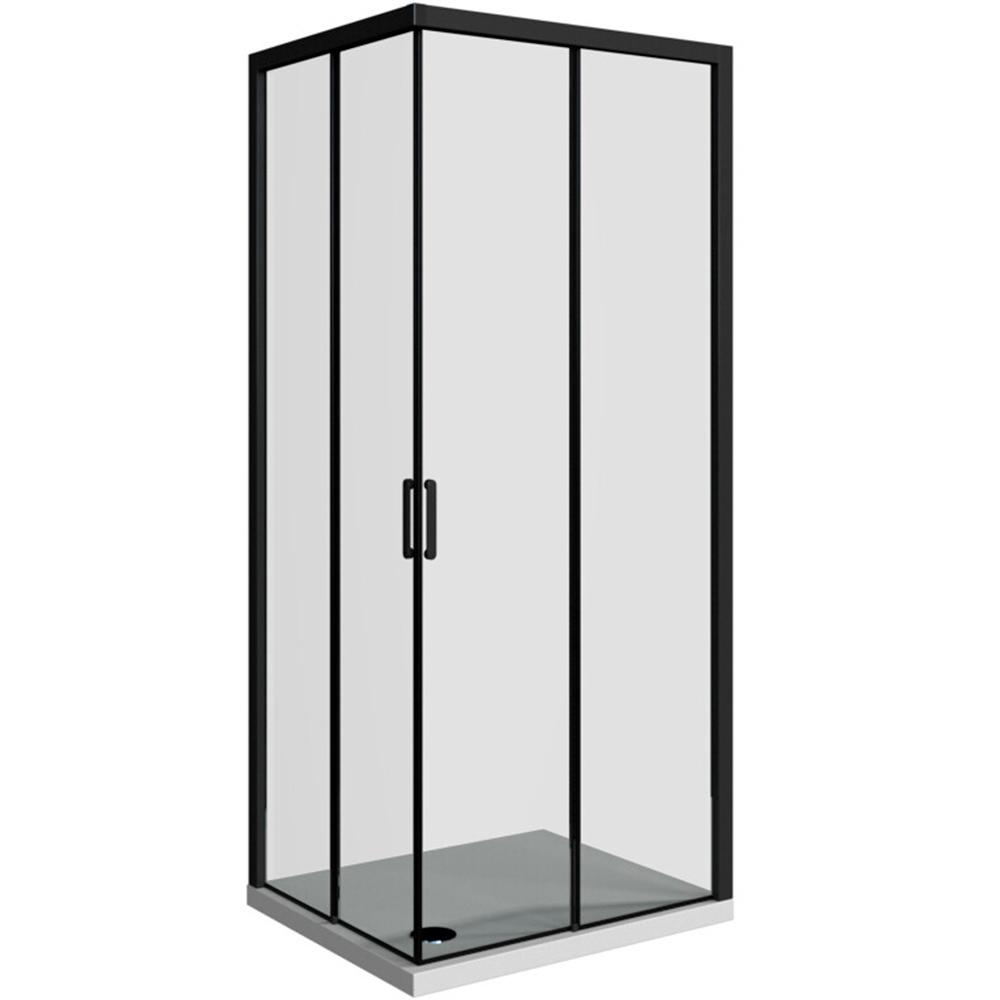 Domino pravokutna kabina 2v crni profil prozirno staklo